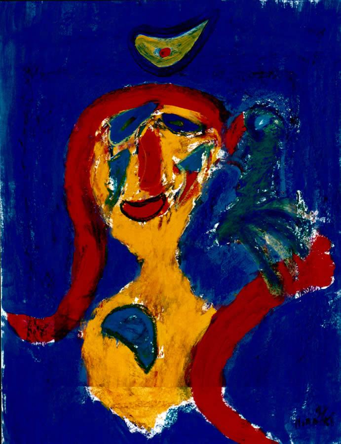 141 Vrouw en Vogel 2, 1997, 83 x 63, gemengd, 400,-