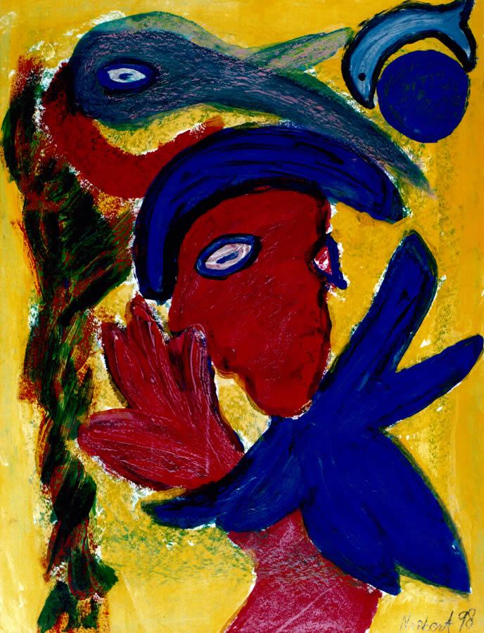 152 Vogelman, 1998, 83 x 63, gemengd, 400,-