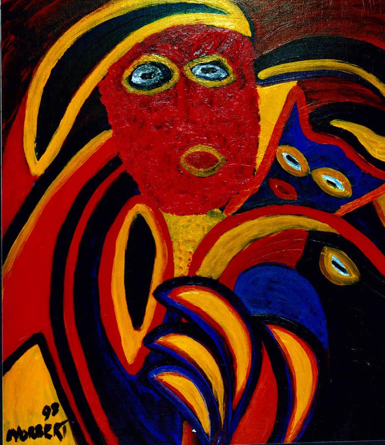 167 Masker 3, 1998 70 x 60 olie/acryl