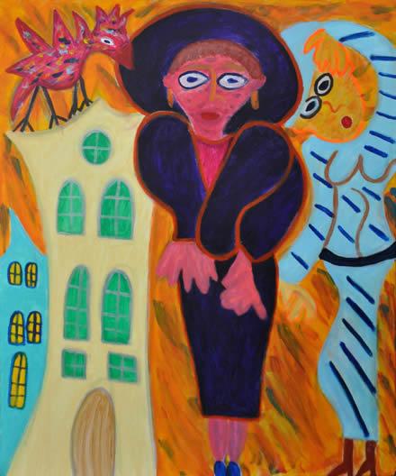 422 Roze Vogel, 2011 120 x 100 acryl, 750,-
