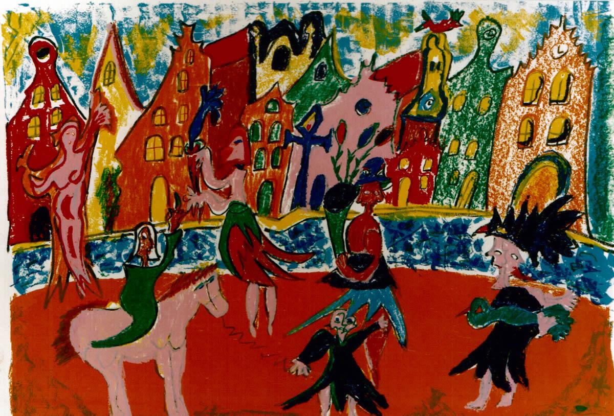 82 De Dragers, 1996, 63 x 83, zeefdruk, 130,-