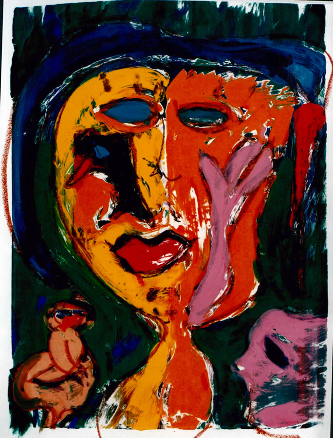 86 Masker 1, 1996, 83 x 68, gemengd, verkocht