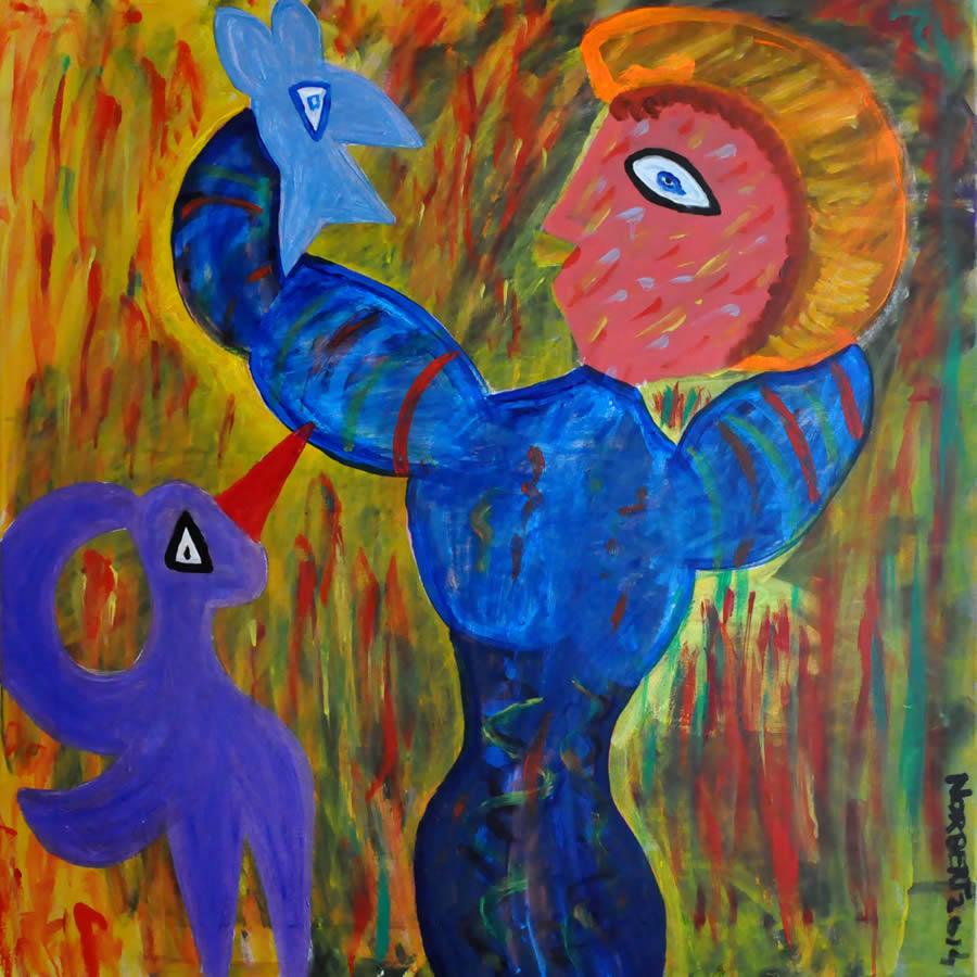 427 Vrouw met blauwe Vogel, 2014 100 x 100, acryl, 650,-